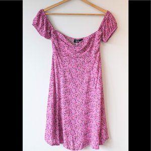 Lulus Pink Floral Off the Shoulder Mini Dress